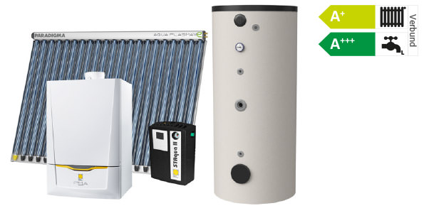 Gasheizung mit Solarkollektor, Regelung und Speicher