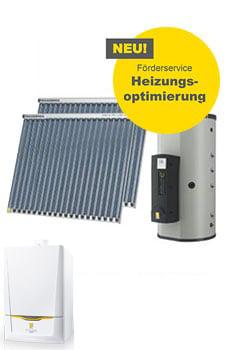 Solaranlage für Warmwasser und Heizungstützung mit Gasbrennwertkessel