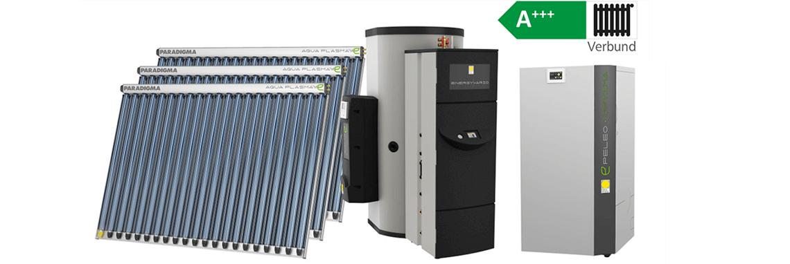 Pelletsheizung mit Solarwärmeanlage und Kompaktheizzentrale A+++ im Verbund