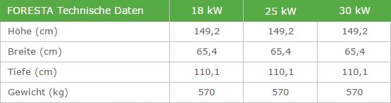 Technische Daten des Holzkessels als Tabelle