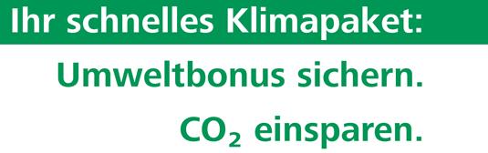 Schnelles Klimapaket: Umweltbonus sichern CO2 einsparen